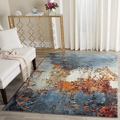Safavieh Glacier Collection GLA125B Abstract Blue and Multi Area Rug 8 x 10