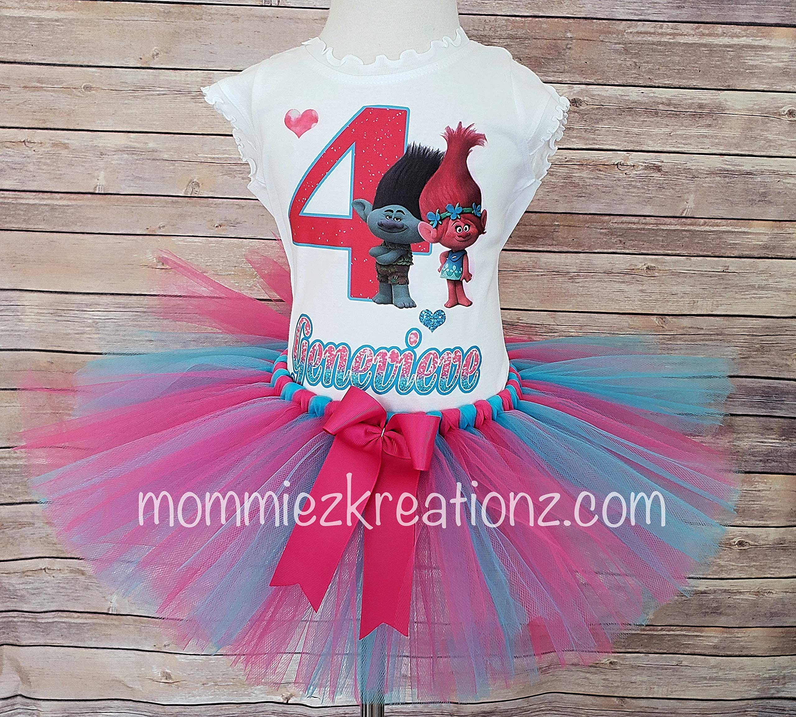 Trolls Tutu Set, Poppy Birthday Outfit, Poppy & Branch Tutu, Trolls Poppy Birthday