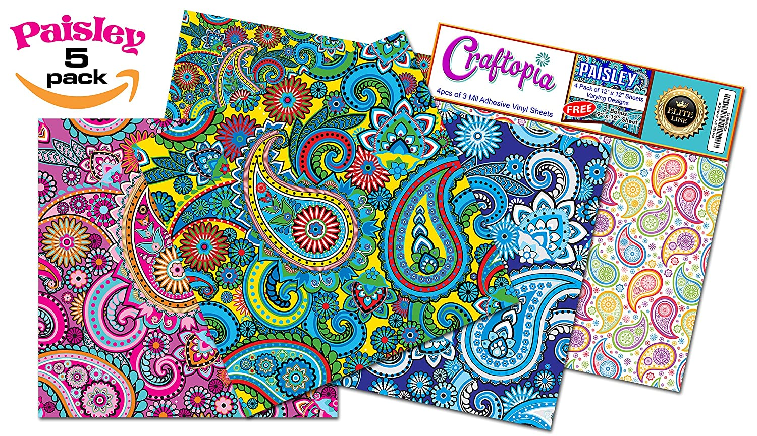 Vinyl sheets for crafts - Amazon Com Craftopia S Paisley Pattern Self Adhesive Craft Vinyl Sheets 4 1 Assorted Vinyl Pack For Cricut Silhouette Cameo Craft Cutters Printers