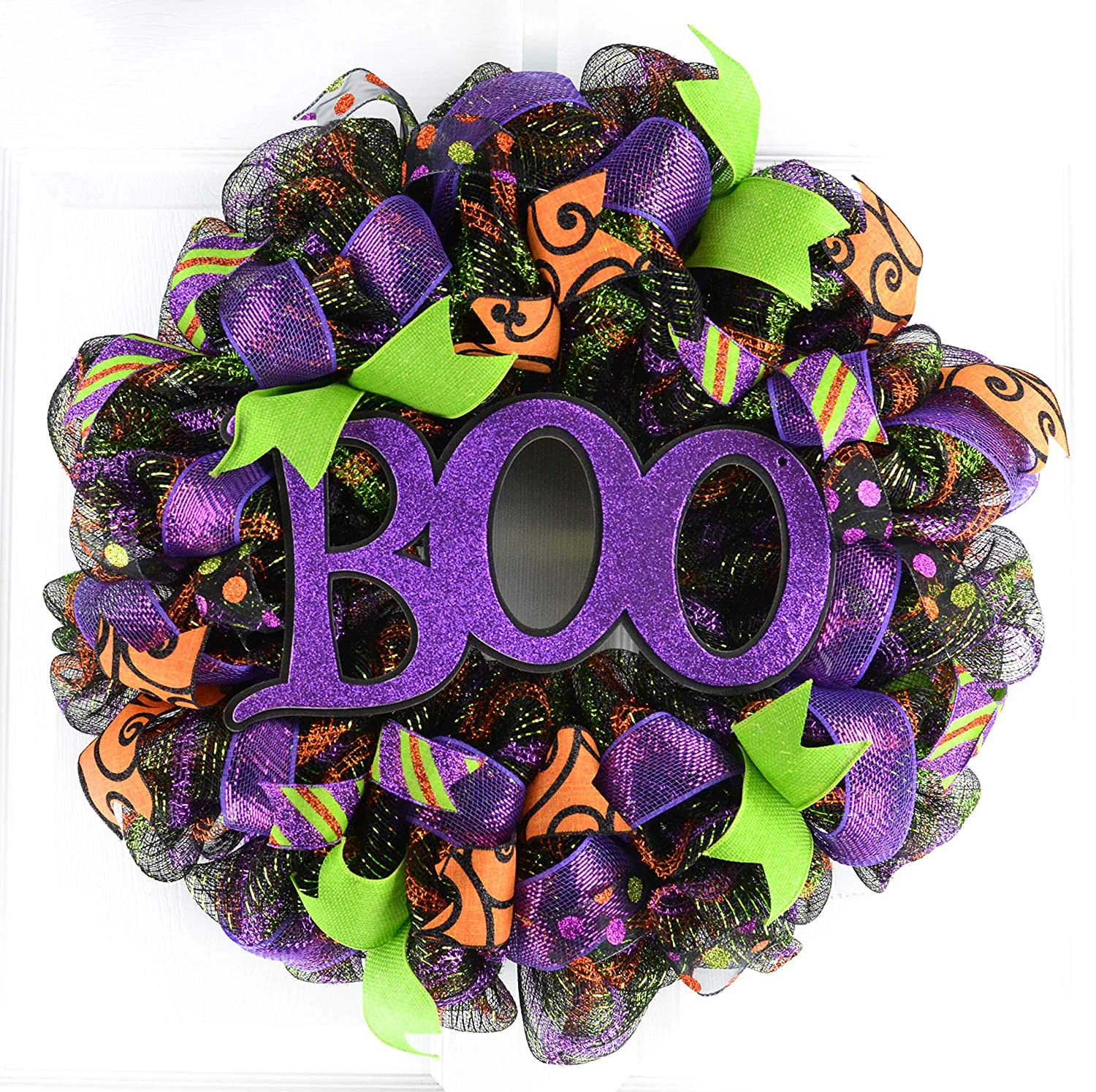 Boo Halloween Door Wreaths | Purple Boo Mesh Outdoor Wreath; Black Lime Green Orange