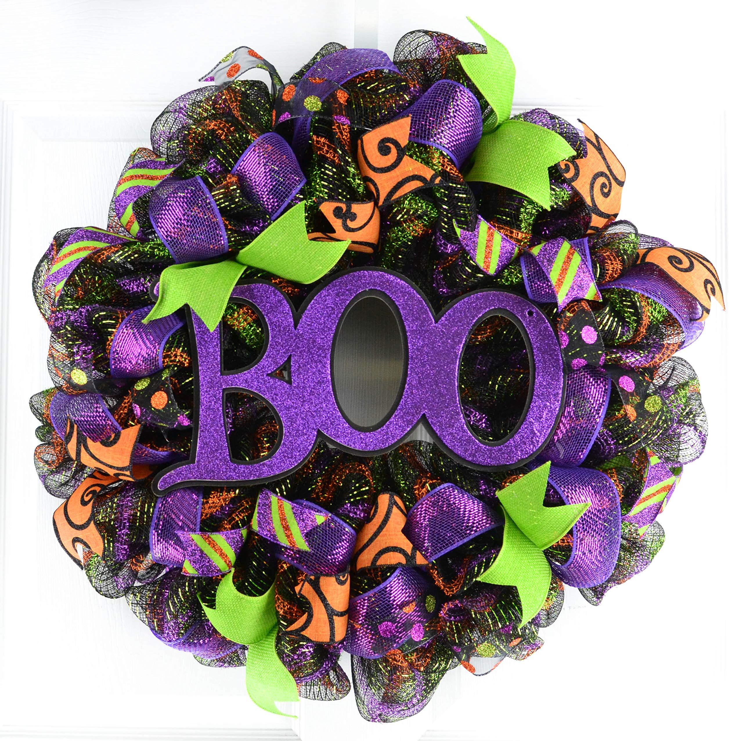Boo Halloween Door Wreaths   Purple Boo Mesh Outdoor Wreath; Black Lime Green Orange by Pink Door Wreaths