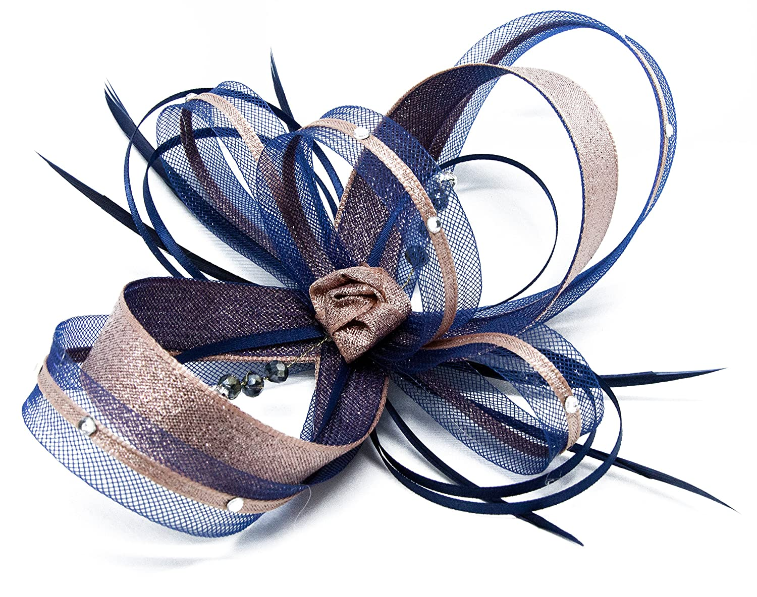 Navy blue fascinator with Rose Gold lurex trim and sparkling diamante  on a  clip b94bb056256