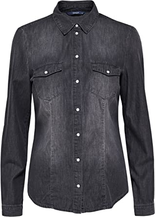 Only Camisa Tejana Denim Mujer Rock - 36, Grey Denim: Amazon ...