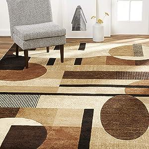 "Home Dynamix Tribeca Jasmine Modern Area Rug, Abstract Brown/Beige 39""x55"""