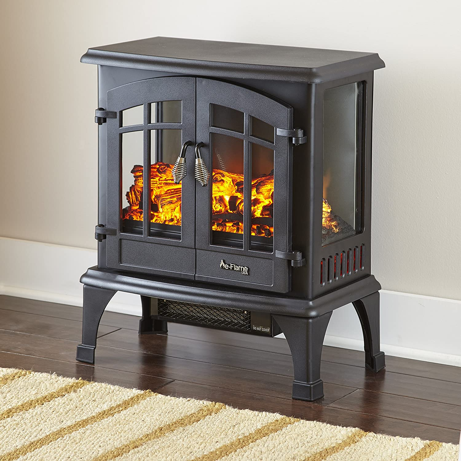 e-Flame USA Jasper Portable Electric Fireplace Stove Matte Black – This 23-inch Tall Freestanding Fireplace Features Heater and Fan Settings with Realistic and Brightly Burning Fire and Logs