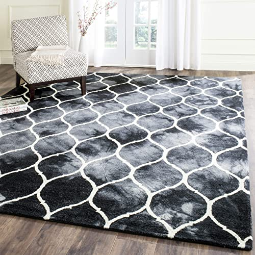 Safavieh Dip Dye Collection DDY685J Handmade Moroccan Ogee Geometric Watercolor Graphite and Ivory Wool Area Rug 8' x 10'
