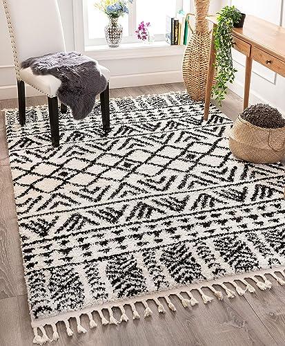 Well Woven Tessa Ivory Moroccan Shag Diamond Trellis Pattern Area Rug 5×7 5 3 x 7 3