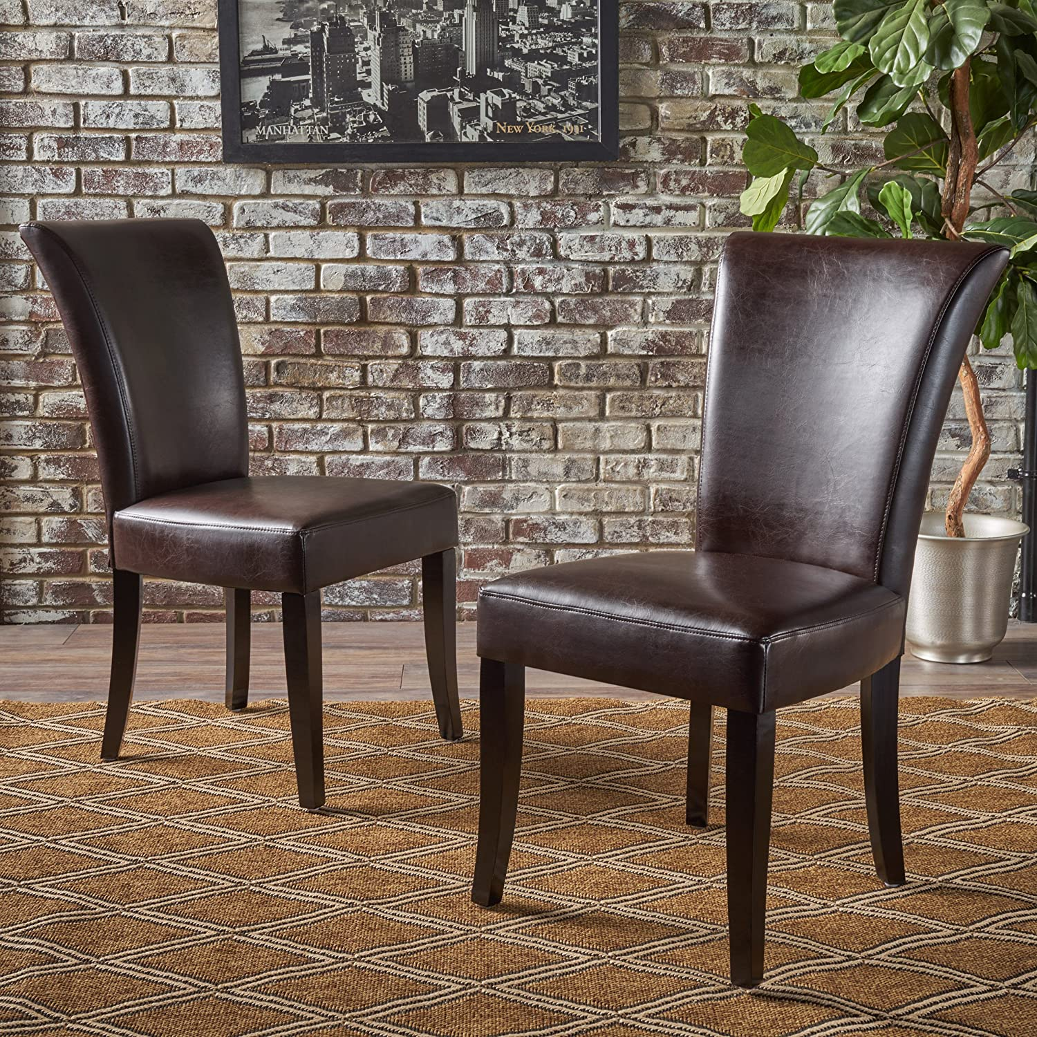 Christopher Knight Home Elmore Brown Leather Dining Chairs (Set of 2)