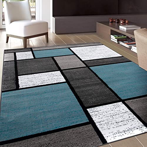 Contemporary Modern Boxes Area Rug 5 3 X 7 3 Blue Gray