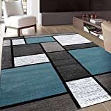 Contemporary Modern Boxes Area Rug 9' X 12' Blue/Gray