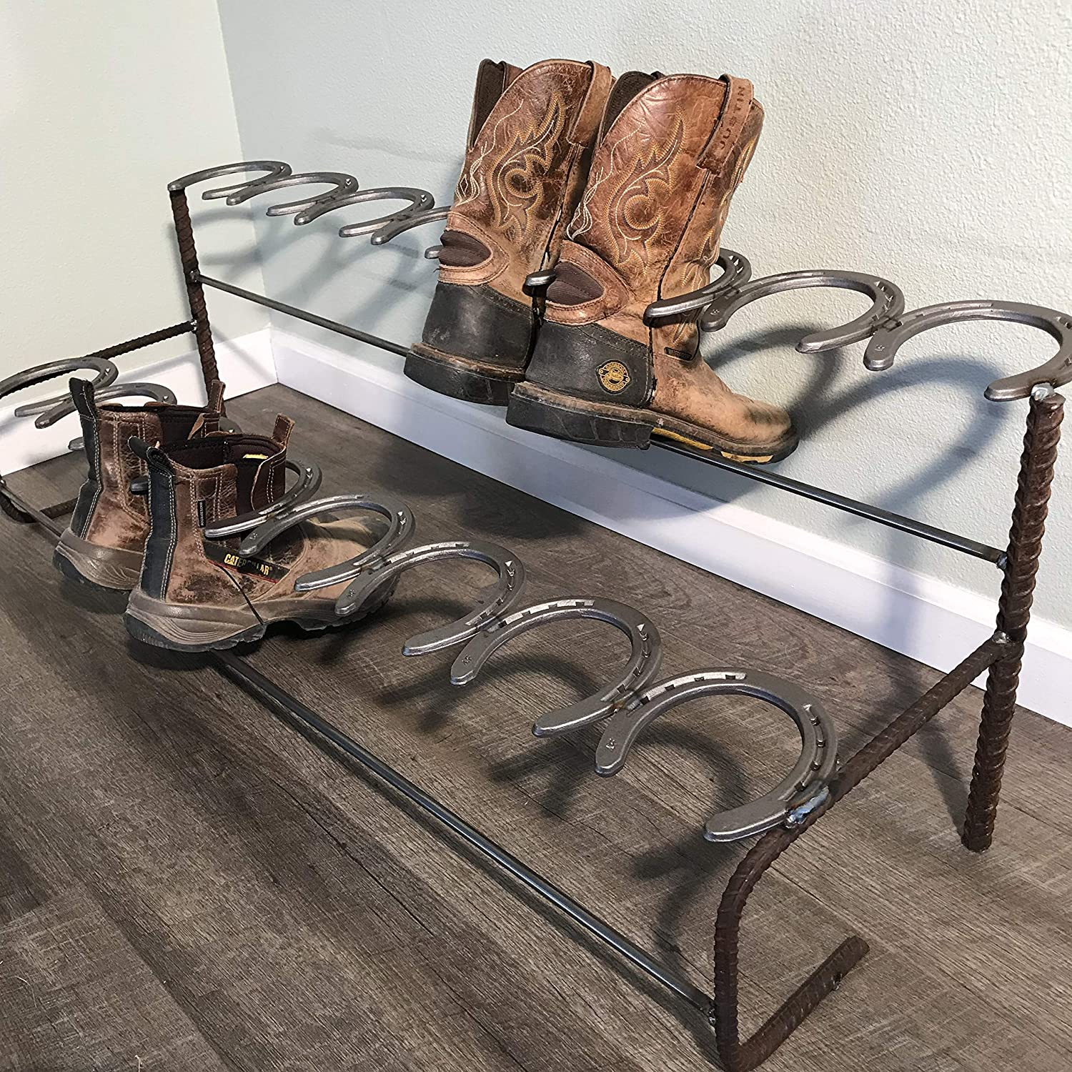 The Heritage Forge Rustic Boot Rack Storage Made Of Horseshoes Perfect For Organizing Boots Entryways And Storage Double Decker 8 Pairs Home Kitchen