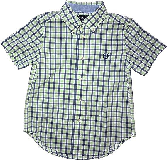 Chaps Boys Green /& Blue Plaid Button-Down Long Sleeve Shirt