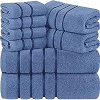 Utopia Towels - Juego de Toallas Azul Eléctrico 8 - Pieza, Toallas de Rayas de Viscosa - 600 gsm Ring Spun de algodón…