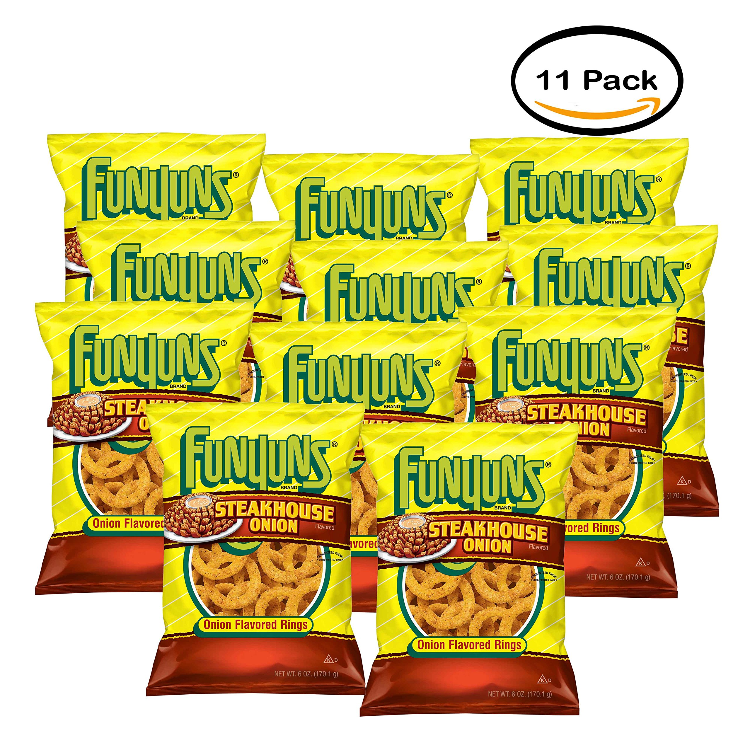 PACK OF 11 - Funyuns Steakhouse Onion Onion Flavored Rings 6 oz. Bag by Funyuns