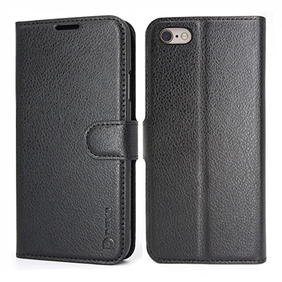 26d8dbbbf303 iPhone 6S Plus Case Wallet Black for Men, iPhone 6 Plus Leather Case, Dekii  Flip Cover with Credit Card Holder, [Ultra Slim] Magnetic Closure ...