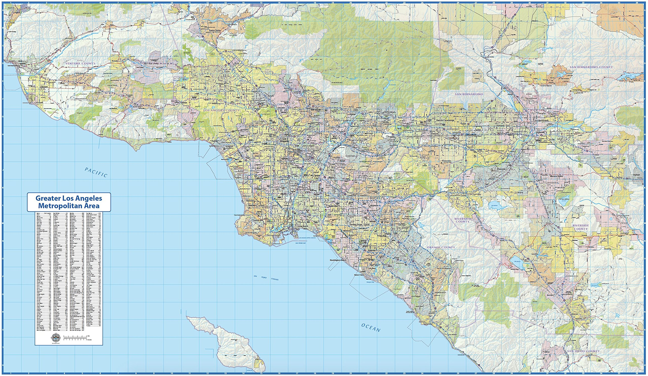 Greater Los Angeles Metropolitan Area Map (72Wx42L)