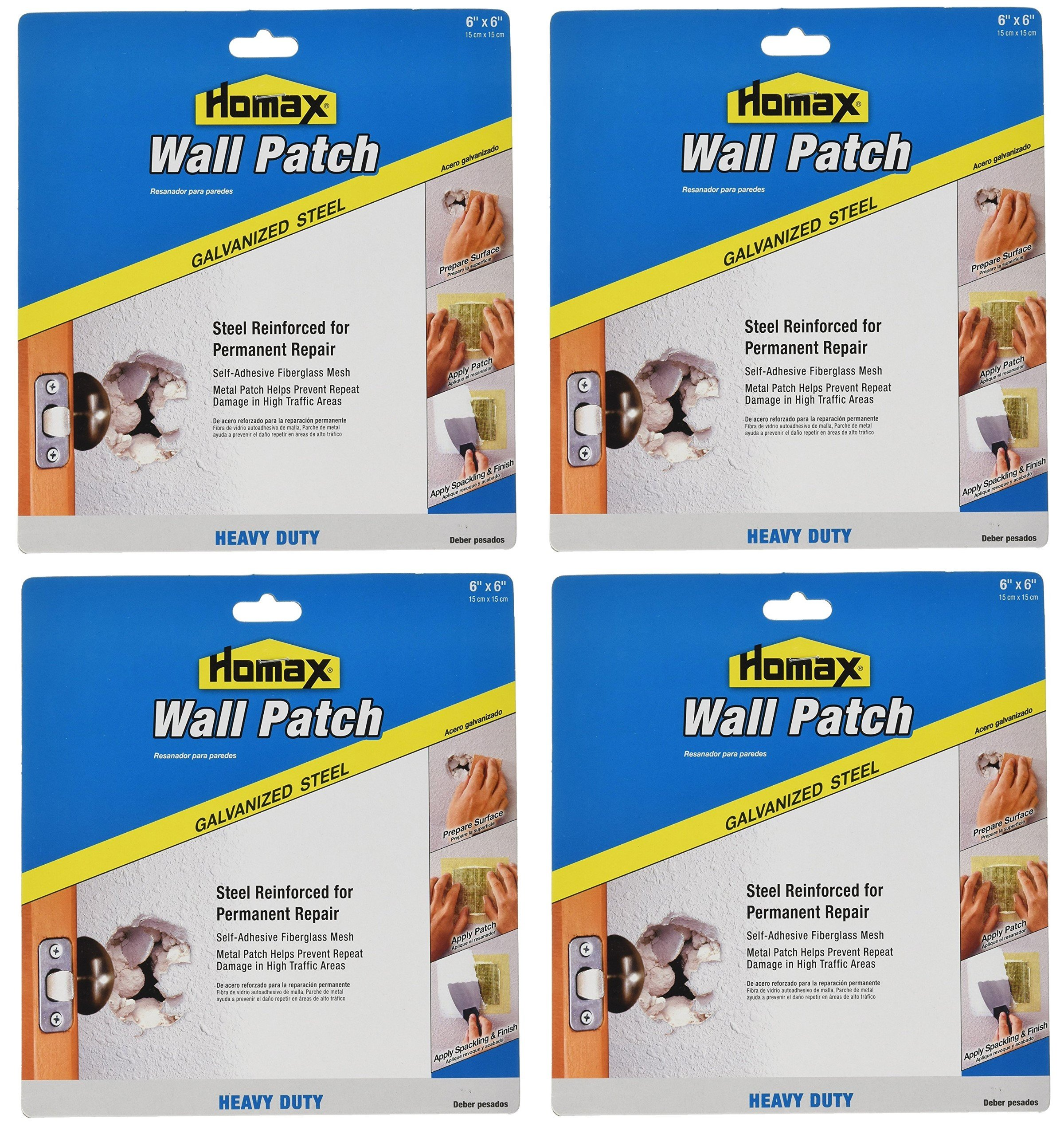Homax Group 5506 Heavy Duty Self Adhesive Wall Repair Patch, 6-Inch x 6-Inch, 4-Pack