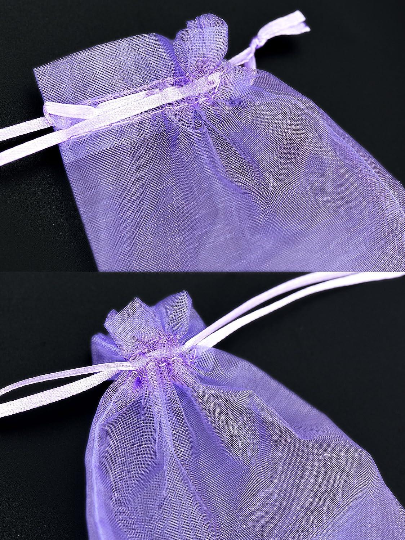 FiveSeasonStuff Organza Blanc Sacs /à Cadeaux pour Favors de Mariage Bijoux F/ête danniversaire Arts et m/étiers Emballage Bonbon DIY Pack de 100 7cm x 9cm Petit