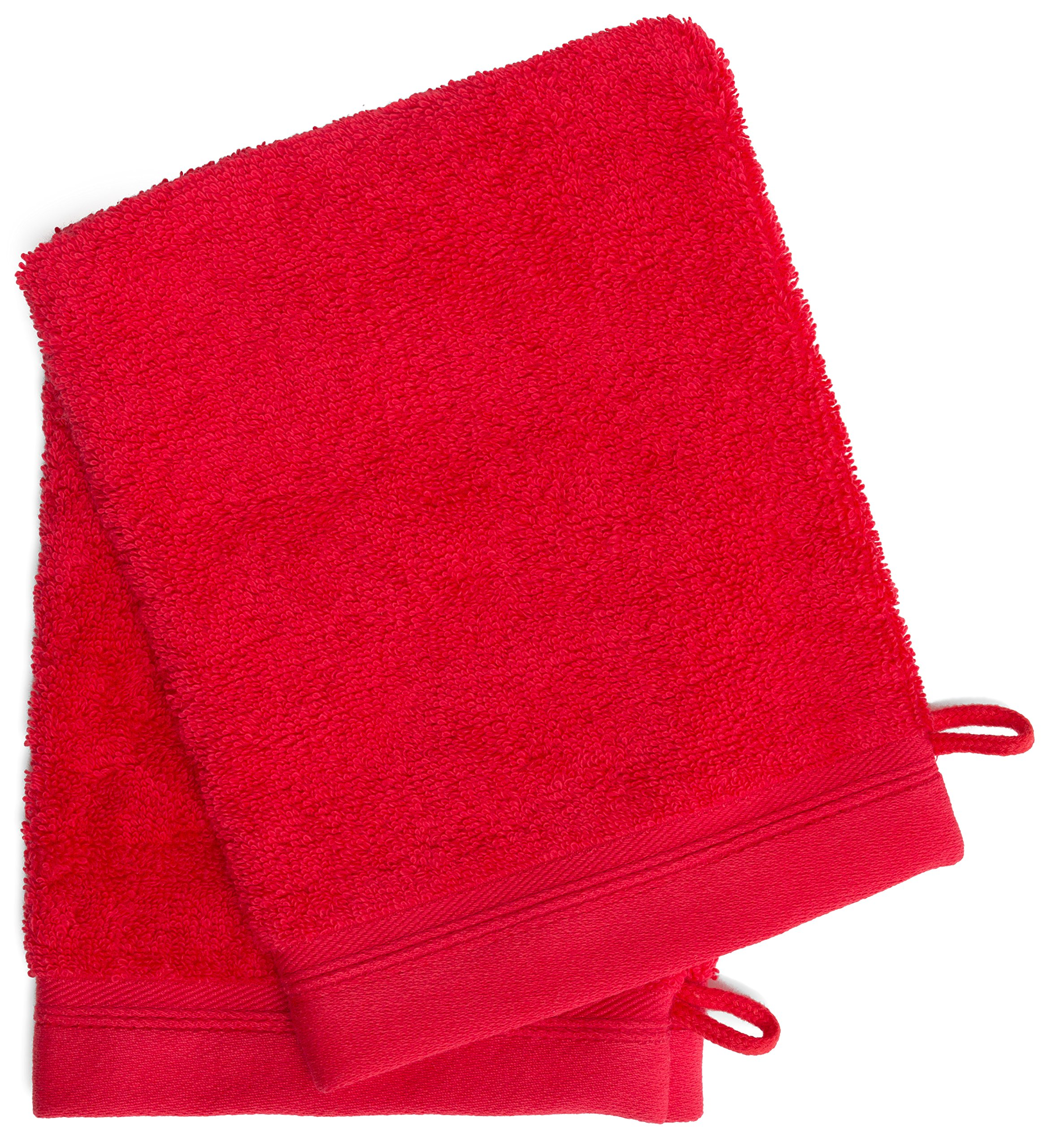 France Luxe Body French-Style Bath Mitt 2-Pack - Red/Red
