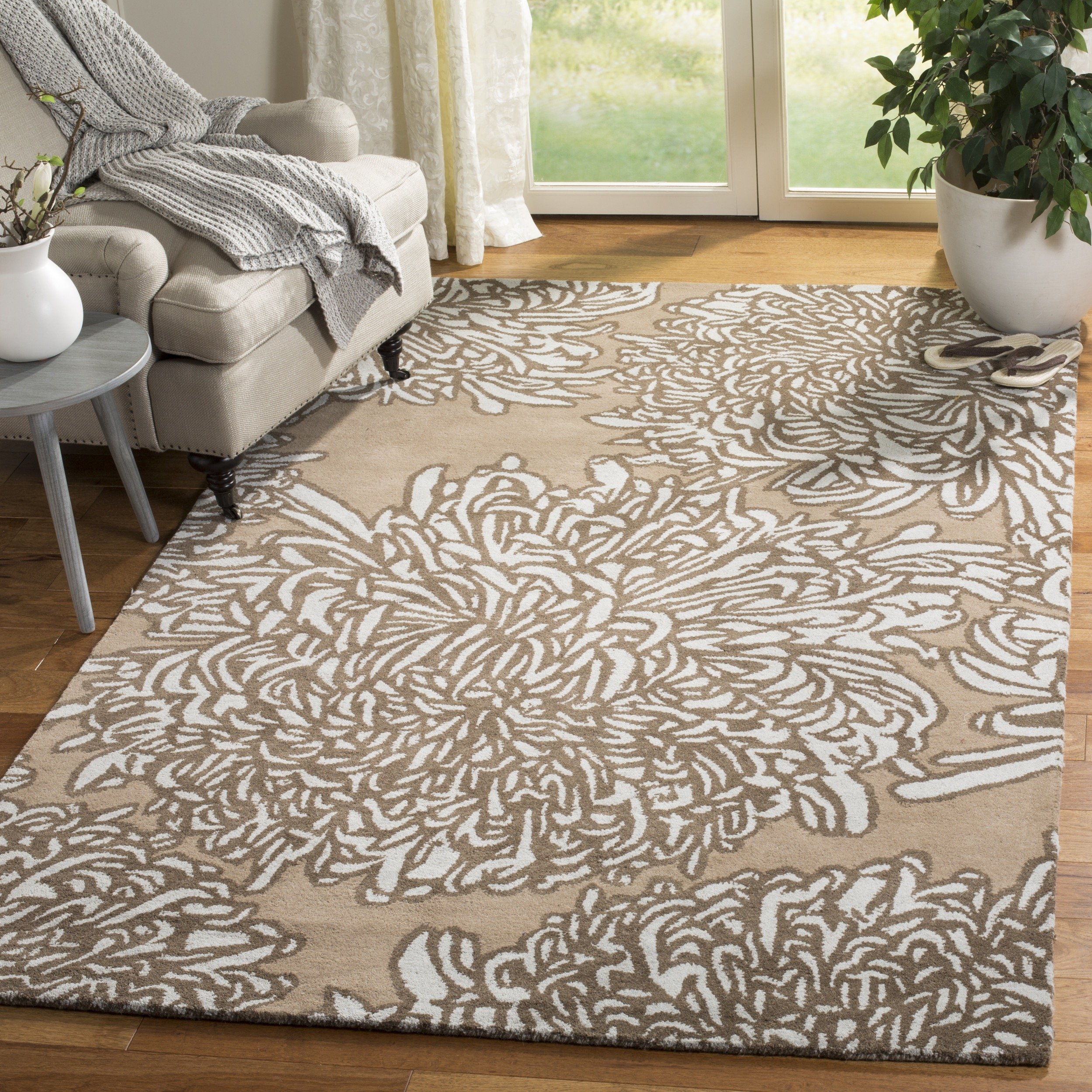 Safavieh Martha Stewart Collection MSR4542G Handmade and Grey Premium Wool Driftwood Area Rug (4' x 6')