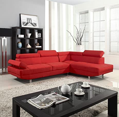 Divano Roma Furniture Modern Contemporary Linen Sectional Sofa With  Adjustable Arm   Red