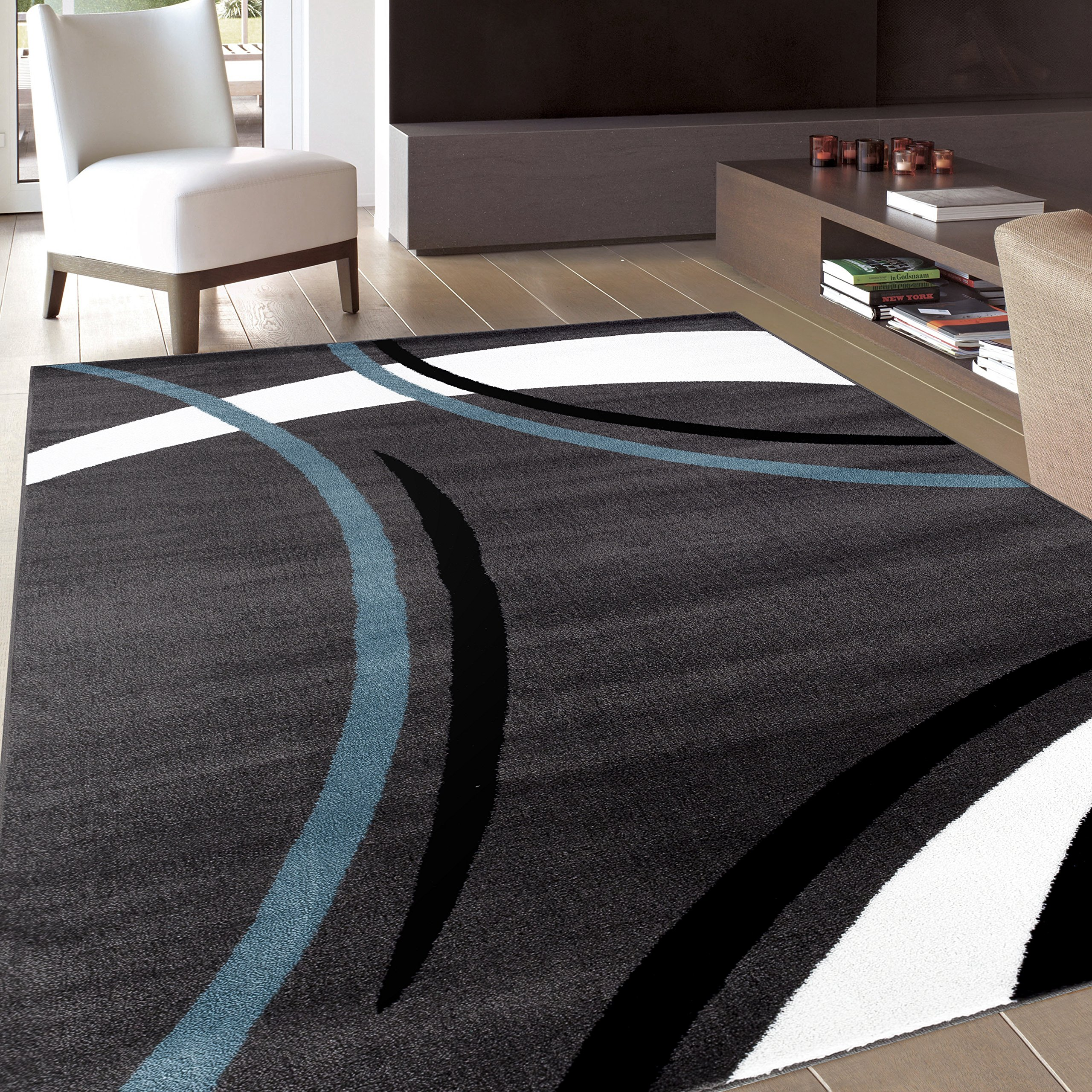 Rug Decor Contemporary Modern Wavy Circles Area Rug, 7' 10'' by 10'2'', Grey