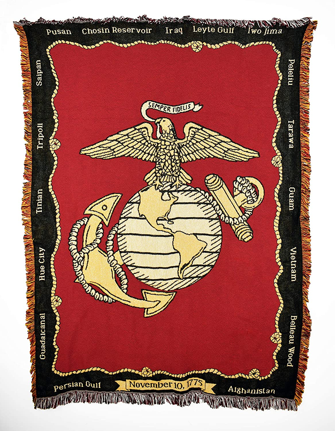 Marine Corps USMC Battles Woven Throw Blanket with Fringe USA Made Size 70x50 Perfect Decor Gift for Mother Daughter Father Son Him Her 283-A Pure Country Weavers