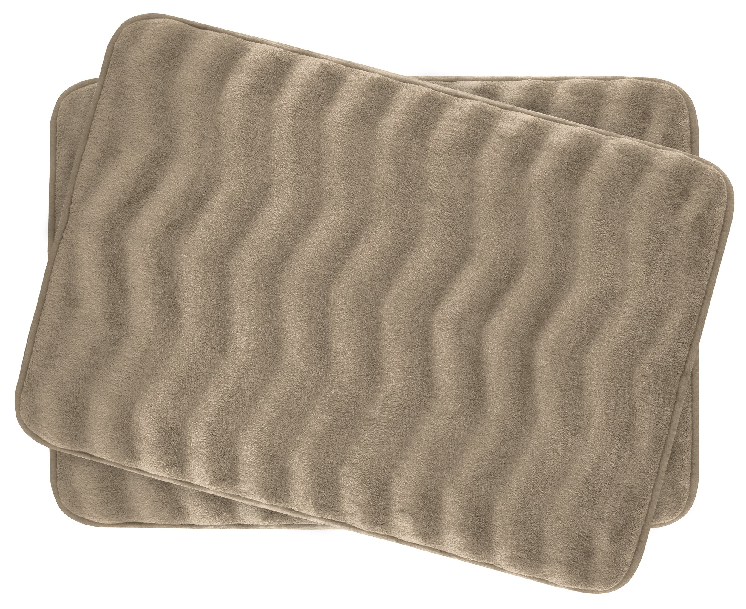 Bounce Comfort Waves Extra Thick Memory Foam Bath Mat Set - Plush 2 Piece Set with BounceComfort Technology, 17 x 24 in. Linen