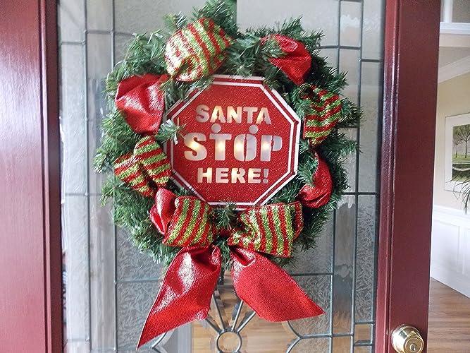 Amazon.com: LIGHTED Christmas Wreath-Santa Stop Here Wreath-Santa ...