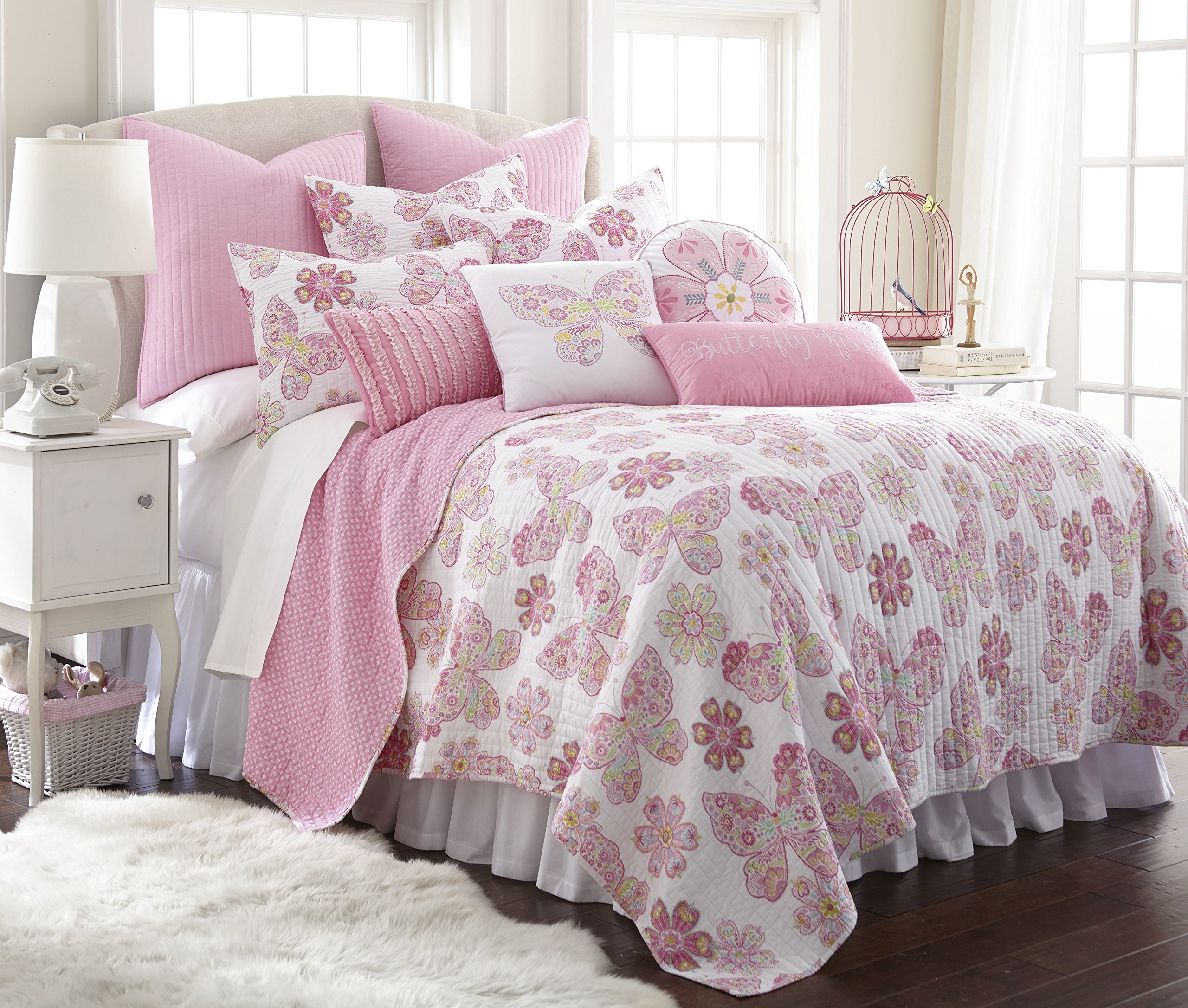 Kama Full/Queen Cotton Quilt Set, Pink by Levtex (Image #1)