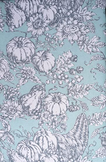 Tablecloth Fabric Autumn Thanksgiving Fall Floral Harvest French Toile  Pattern Gray And White On Light Green