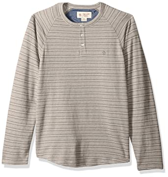 acbcb7c9 Original Penguin Men's Long Sleeve Striped Terry Henley, Castlerock Small
