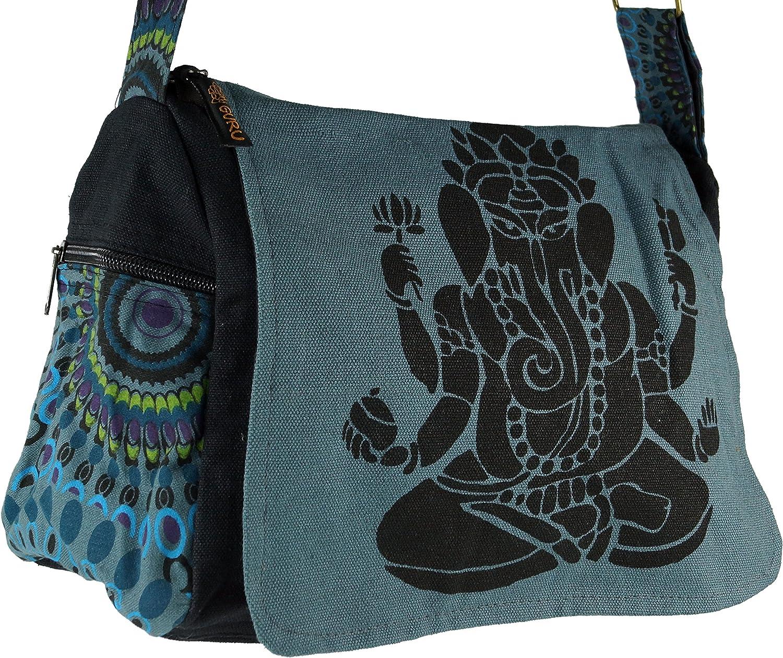 Hippie Bag Guru-Shop Shoulder Bag Green Unisex Adults Goan bag Ganesha 23x28x12 cm Shoulder Bags Cotton
