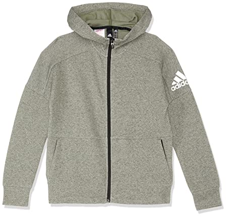 ADIDAS Jungen Full Zip Kapuzen-Jacke, Stadium Heather Base Grn, 116 92cadce61a