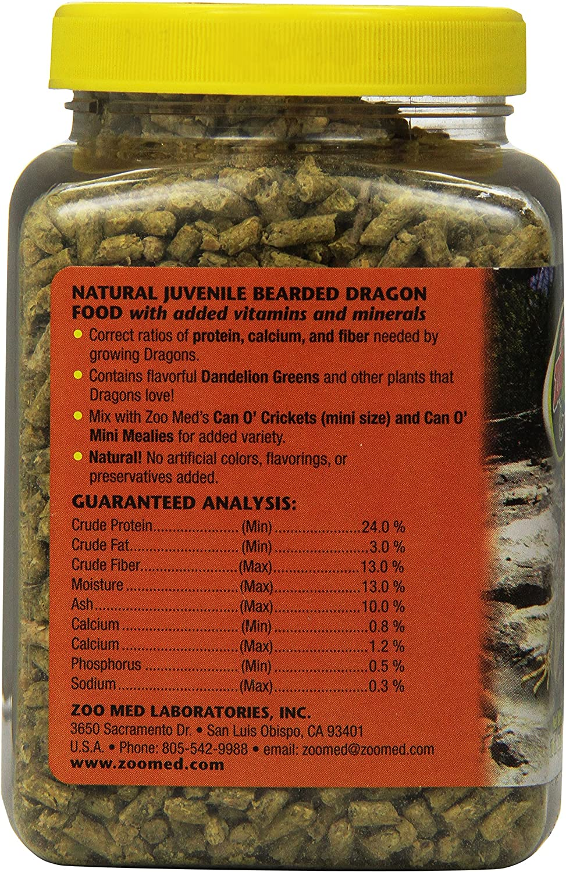 con vitaminas y minerales Zoo Med Natural Juvenile Bearded Dragon Food Forro Pel Lets para pogona