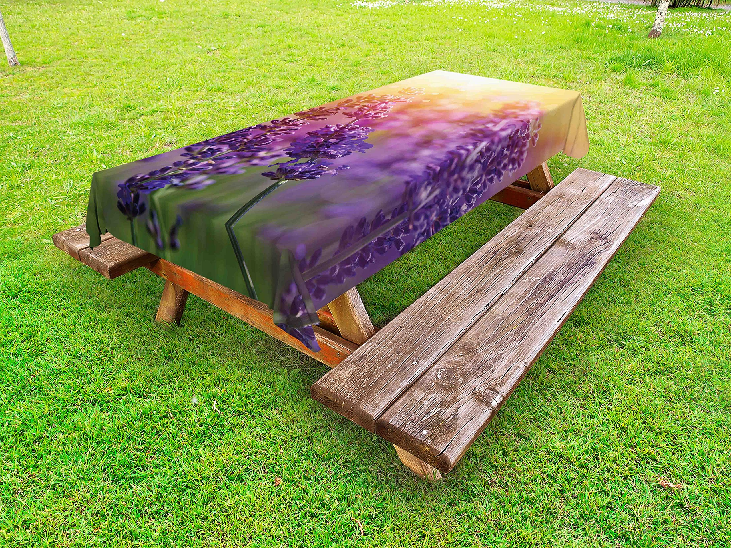 Lunarable Lavender Outdoor Tablecloth, Detail of Scenic Gardening Plants Flourishing in Springtime Fresh Woods, Decorative Washable Picnic Table Cloth, 58 X 120 inches, Violet Apricot Green