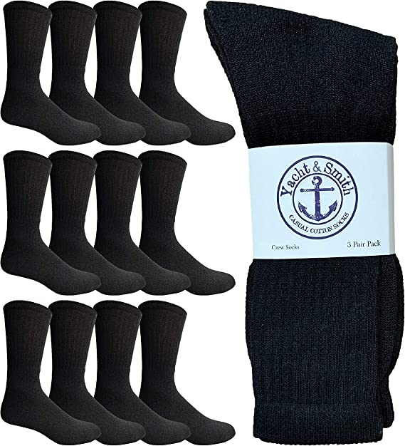 12 Pairs Bulk Gift Wholesale Basic Cotton Sports Athletic Casual Everyday Sock Crew Socks for Men