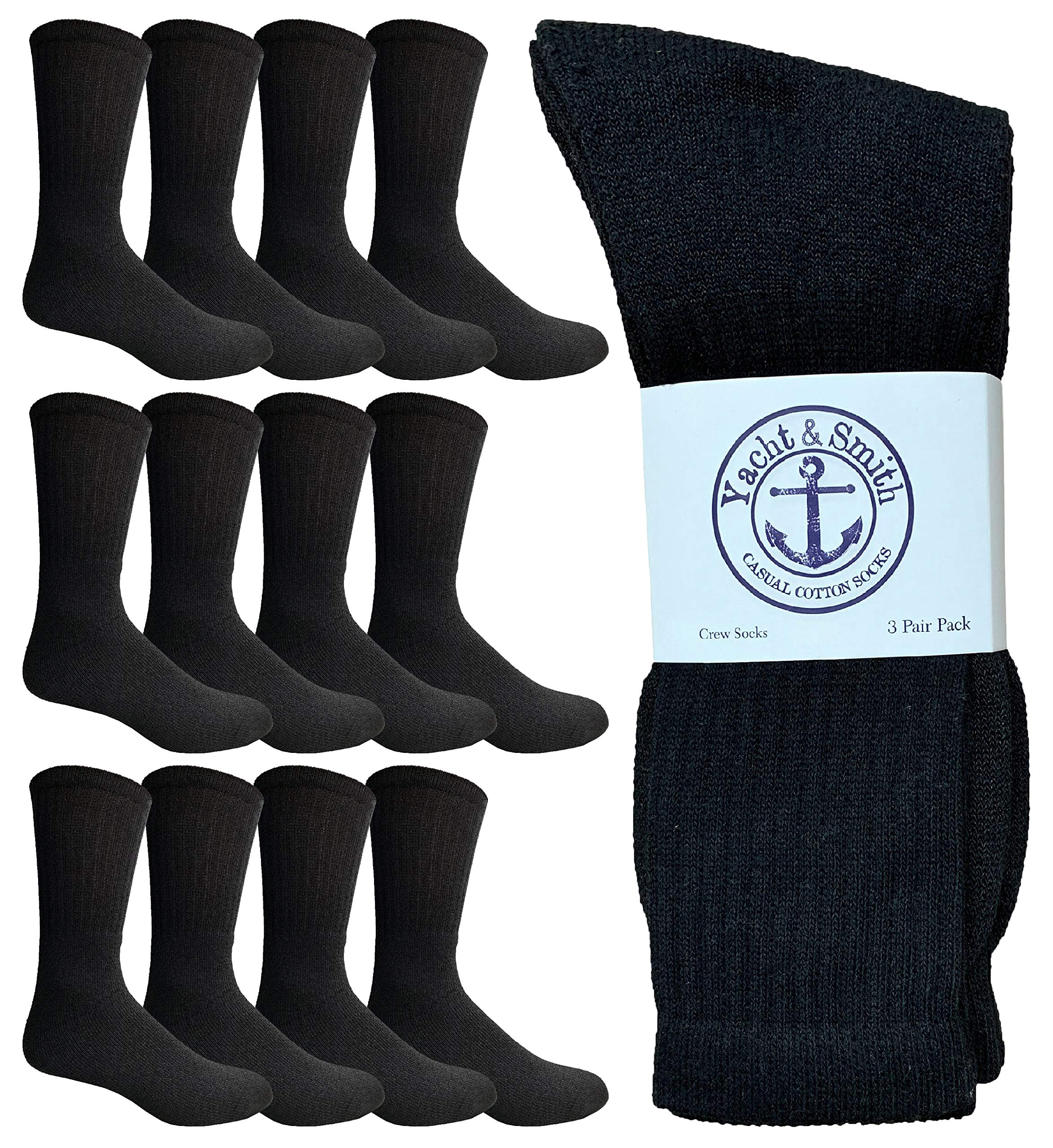 Yacht & Smith Wholesale Bulk Mens Crew Socks, Cotton Big And Tall Plus Size Socks Size 13-29 by Yacht & Smith