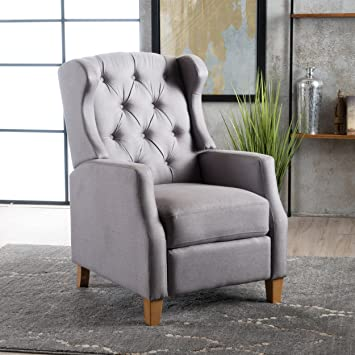 Amazon Gondor Fabric Tufted Wingback Recliner Light Grey