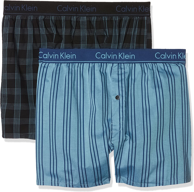 Calvin Klein 2p Slim Fit Boxer, Azul (Chambray Heather/Estate Blue Gva), Large (Pack de 2) para Hombre: Amazon.es: Ropa y accesorios