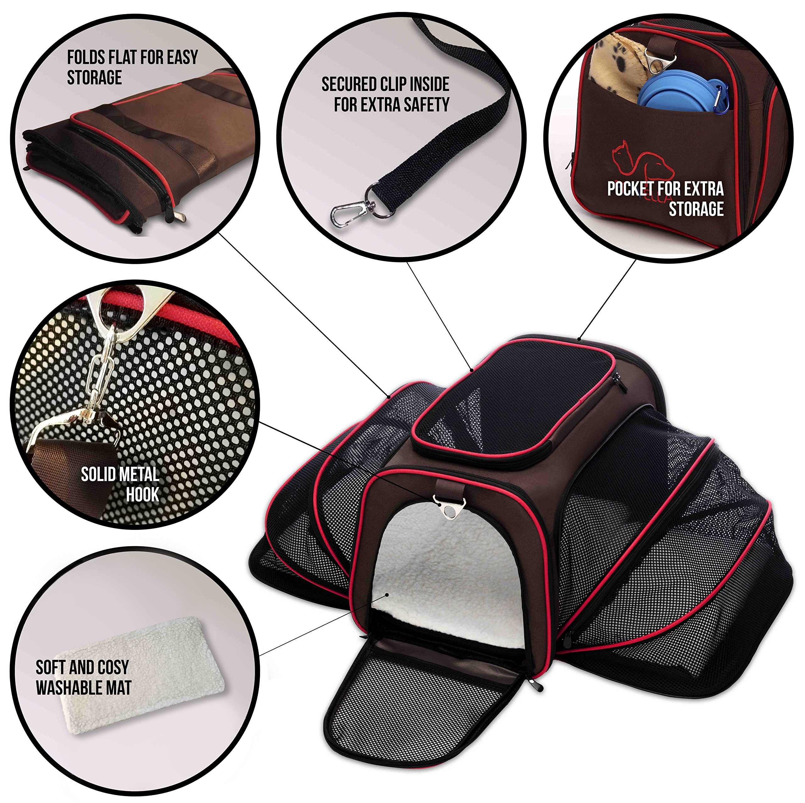 Petyella Cat Carrier Pet Carrier for Small Dogs and Cats Expandable Soft Sided Crate for Pet - Airline Approved Medium Kennel Travel Bag - 2.8 lbs Dog Carriers with Bonus Blanket and Bowl,Dark Brown by Petyella (Image #5)