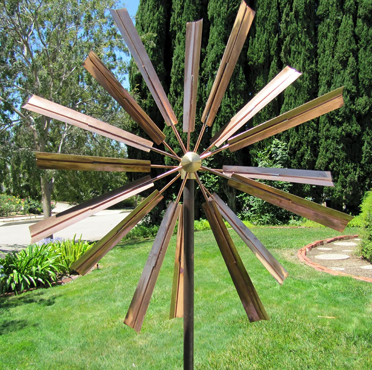 Stanwood Wind Sculpture Kinetic Copper Wind Sculpture, Double Windmill Spinner