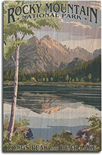 product image for Lantern Press Rocky Mountain National Park, Colorado - Longs Peak and Bear Lake Summer (10x15 Wood Wall Sign, Wall Decor Ready to Hang)