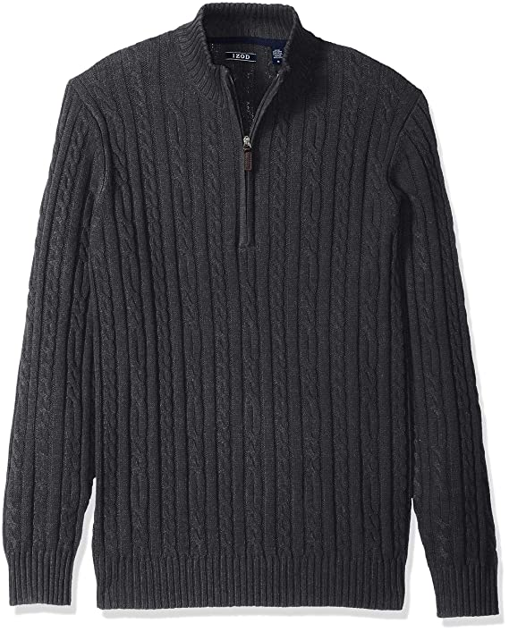 IZOD Men's Premium Essentials Solid Quarter Zip 7 Gauge Cable Knit Sweater, dark Asphault, X-Large best men's sweaters