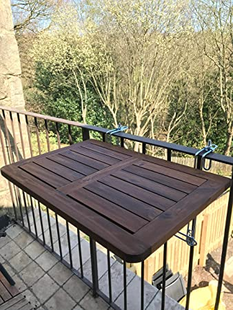 Nice Click Deck Balcony Table HARDWOOD Table Folding Table Hanging Railing Table  Dining Garden BBQ Side