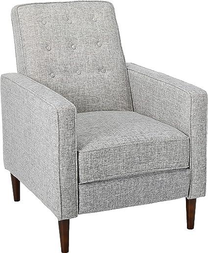 Super Christopher Knight Home Macedonia Mid Century Modern Tufted Back Light Grey Tweed Fabric Recliner Single Short Links Chair Design For Home Short Linksinfo