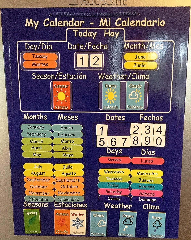 El primer y único CALENDARIO DE BILINGÜE NIÑOS! Calendario magnética para la Educación en Español e Inglés . Rígido bordo con el imán para colgar en la ...