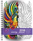 """Action Publishing 2018 Garden Paths & Forest Trails Coloring Day Planner (8.5"""" x 11"""") January - December, Wire Bound, Archival Quality Paper"""