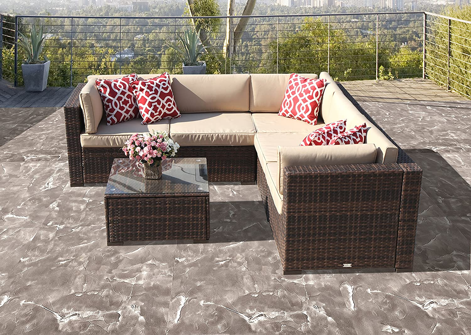 6 Piece Patio Furniture Outdoor Furniture Sectional Set, All Weather PE Brown Wicker Patio Set Sofas with Glass Coffee Table, Steel Frame, Beige Cushions