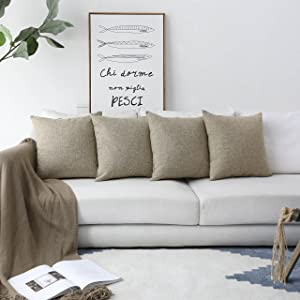HOME BRILLIANT Burlap Lined Linen Square Throw Cushion Pillowcase Covers for Sofa, 18x18, Natural Linen, Set of 4